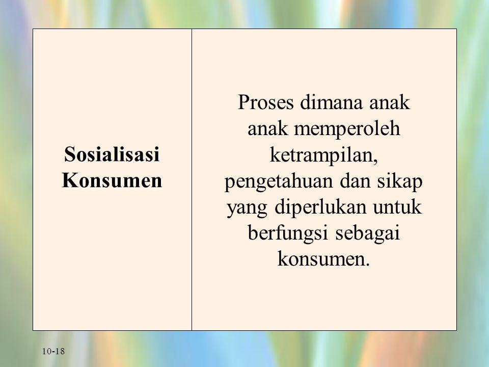 10-18 Sosialisasi Konsumen Proses dimana anak anak memperoleh ketrampilan, pengetahuan dan sikap yang diperlukan untuk berfungsi sebagai konsumen.