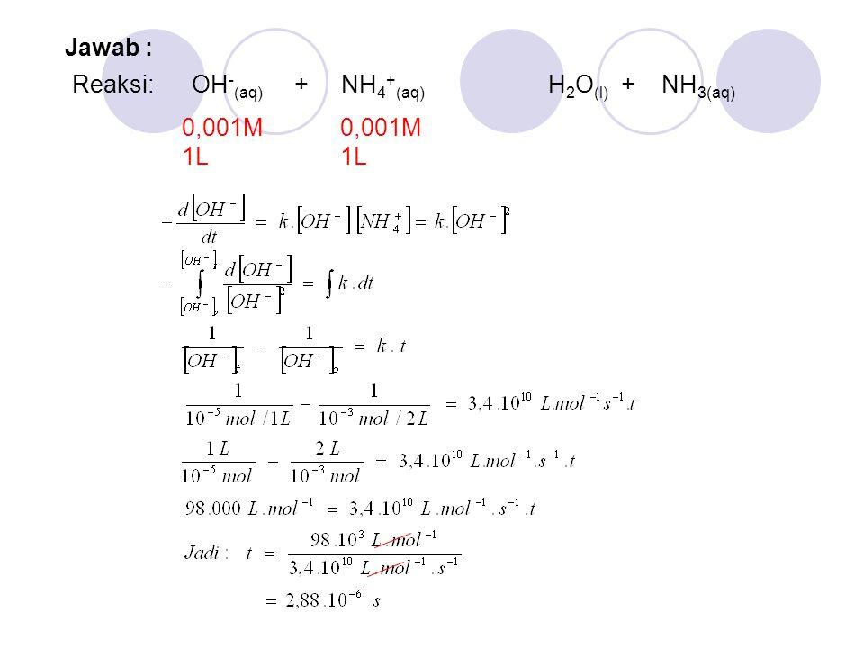 Reaksi: OH - (aq) + NH 4 + (aq) H 2 O (l) + NH 3(aq) 0,001M 1L Jawab :