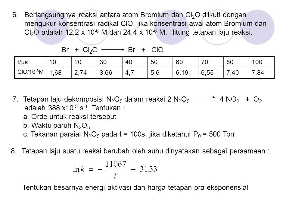 6. Berlangsungnya reaksi antara atom Bromium dan Cl 2 O diikuti dengan mengukur konsentrasi radikal ClO, jika konsentrasi awal atom Bromium dan Cl 2 O