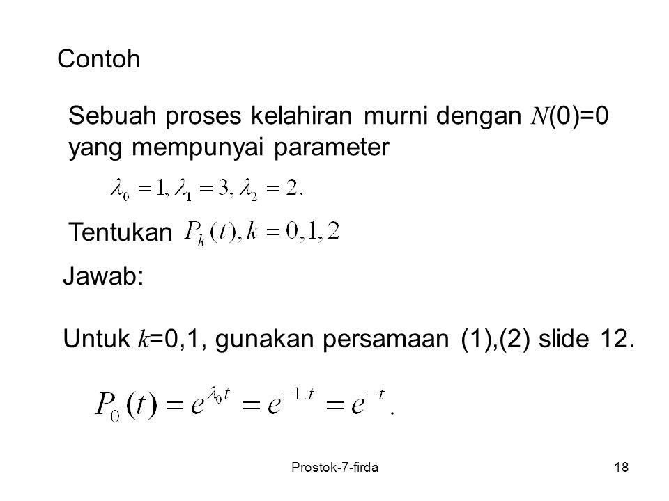 18 Contoh Sebuah proses kelahiran murni dengan N (0)=0 yang mempunyai parameter Tentukan Jawab: Untuk k =0,1, gunakan persamaan (1),(2) slide 12. Pros