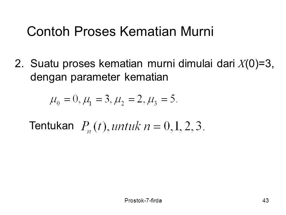 43 Contoh Proses Kematian Murni 2. Suatu proses kematian murni dimulai dari X (0)=3, dengan parameter kematian Tentukan Prostok-7-firda