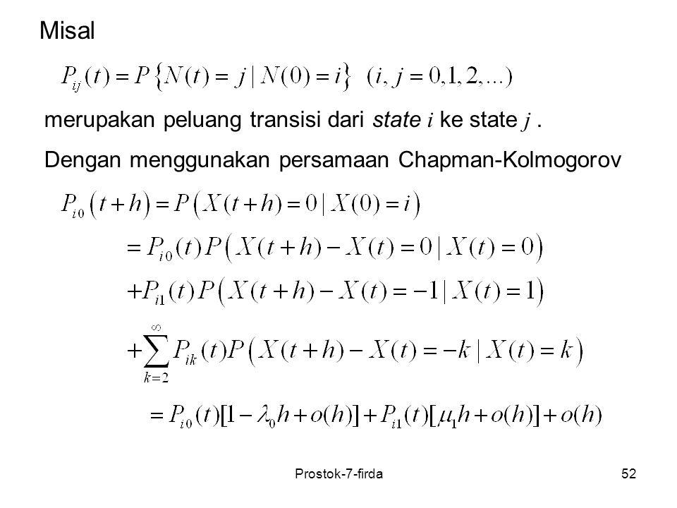52 merupakan peluang transisi dari state i ke state j. Misal Dengan menggunakan persamaan Chapman-Kolmogorov