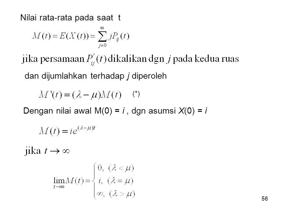 56 Nilai rata-rata pada saat t dan dijumlahkan terhadap j diperoleh Dengan nilai awal M(0) = i, dgn asumsi X(0) = i (*)