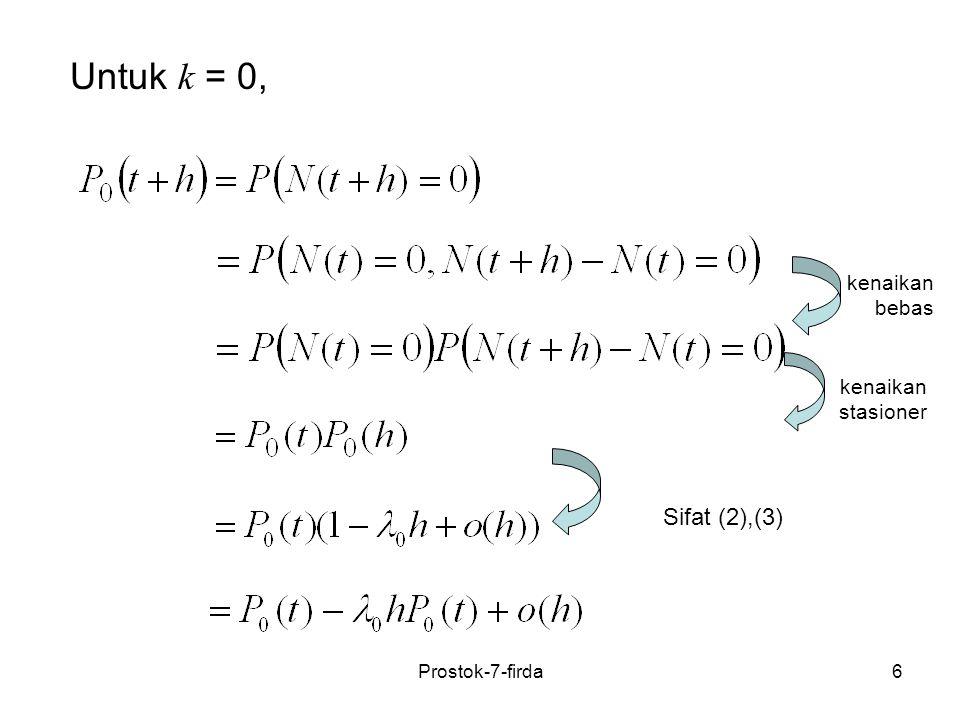 6 kenaikan bebas kenaikan stasioner Sifat (2),(3) Untuk k = 0, Prostok-7-firda