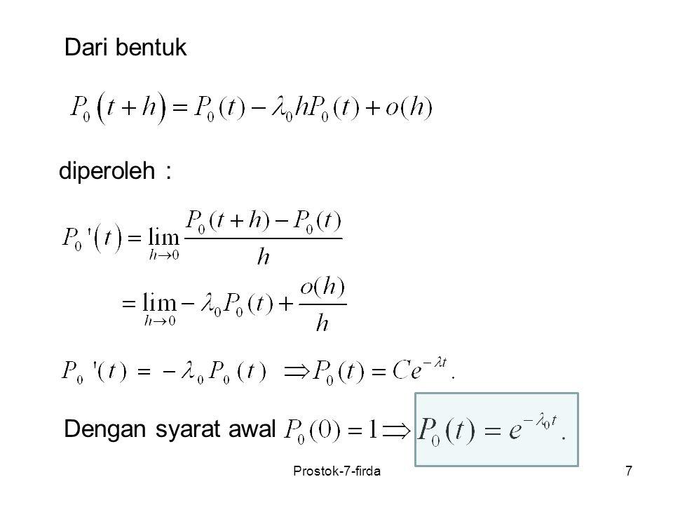 18 Contoh Sebuah proses kelahiran murni dengan N (0)=0 yang mempunyai parameter Tentukan Jawab: Untuk k =0,1, gunakan persamaan (1),(2) slide 12.