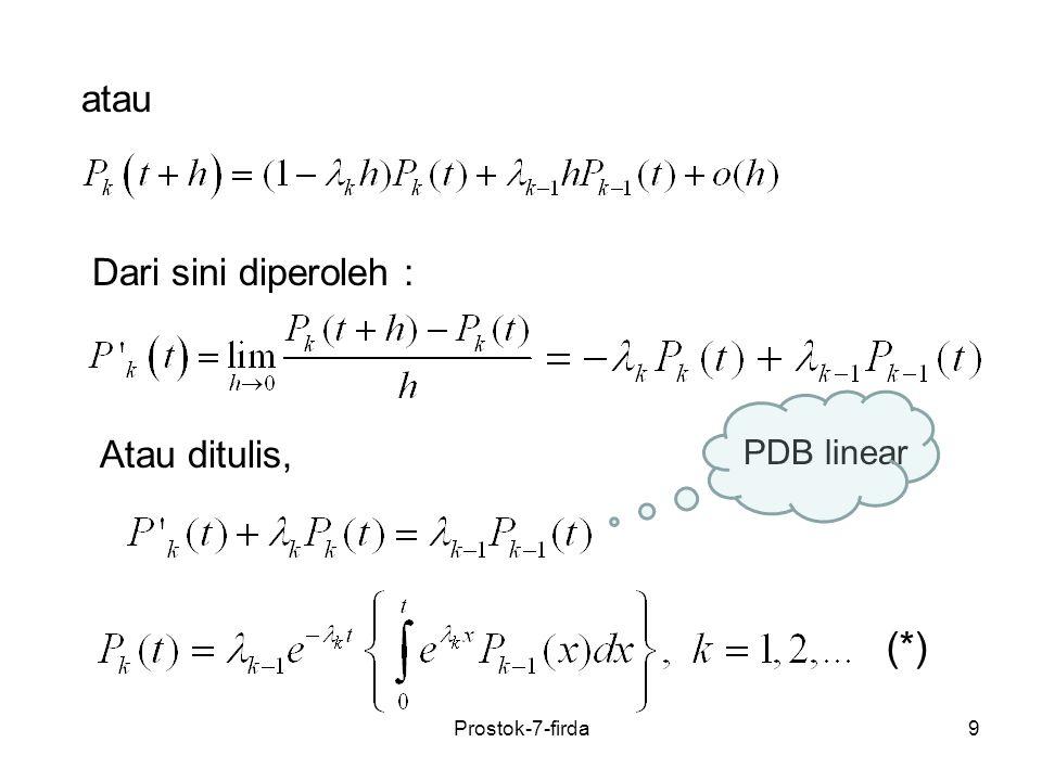 30 7.3 Proses Kematian Murni Definisi 1 (Shunji Osaki) Jika proses stokastik adalah rantai Markov dengan peluang transisi stasioner, ruang keadaan, memenuhi: maka proses dinamakan proses kematian murni dengan parameter Prostok-7-firda
