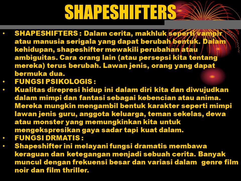 SHAPESHIFTERS SHAPESHIFTERS : Dalam cerita, makhluk seperti vampir atau manusia serigala yang dapat berubah bentuk. Dalam kehidupan, shapeshifter mewa