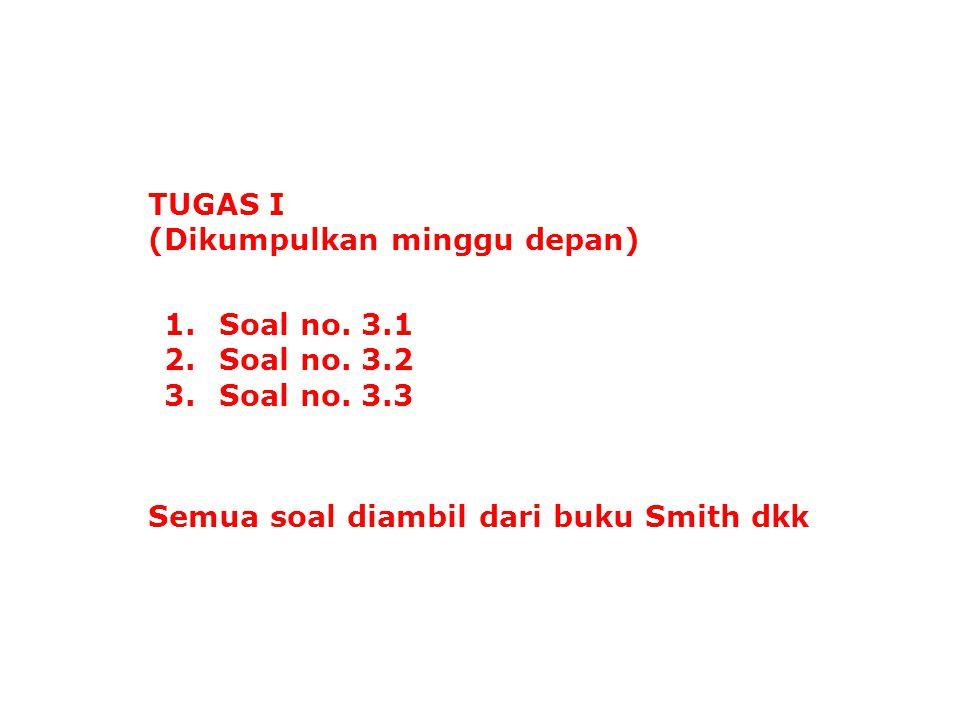 TUGAS I (Dikumpulkan minggu depan) 1.Soal no. 3.1 2.Soal no. 3.2 3.Soal no. 3.3 Semua soal diambil dari buku Smith dkk