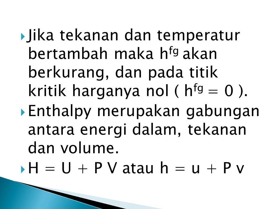  Jika tekanan dan temperatur bertambah maka h fg akan berkurang, dan pada titik kritik harganya nol ( h fg = 0 ).  Enthalpy merupakan gabungan antar