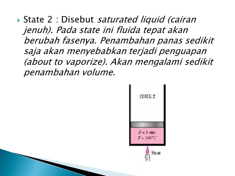  State 2 : Disebut saturated liquid (cairan jenuh). Pada state ini fluida tepat akan berubah fasenya. Penambahan panas sedikit saja akan menyebabkan
