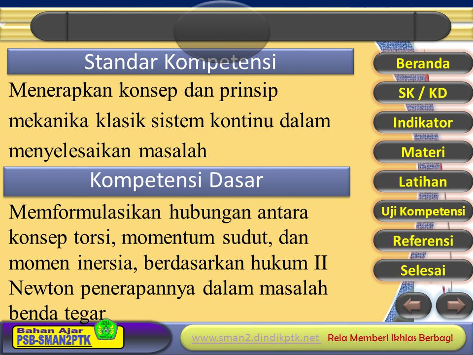 www.sman2.dindikptk.net www.sman2.dindikptk.net Rela Memberi Ikhlas Berbagi www.sman2.dindikptk.net www.sman2.dindikptk.net Rela Memberi Ikhlas Berbagi Indikator Pencapaian 1.Menentukan percepatan benda yang menggelinding pada bidang datar yang kasar 2.Menentukan percepatan benda yang menggelinding pada bidang miring yang kasar 3.Menggunakan rumus diatas dalam penyelesaian soal Beranda SK / KD Indikator Materi Latihan Uji Kompetensi Referensi Selesai