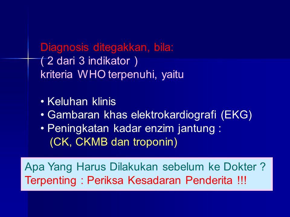 Diagnosis ditegakkan, bila: ( 2 dari 3 indikator ) kriteria WHO terpenuhi, yaitu Keluhan klinis Gambaran khas elektrokardiografi (EKG) Peningkatan kad