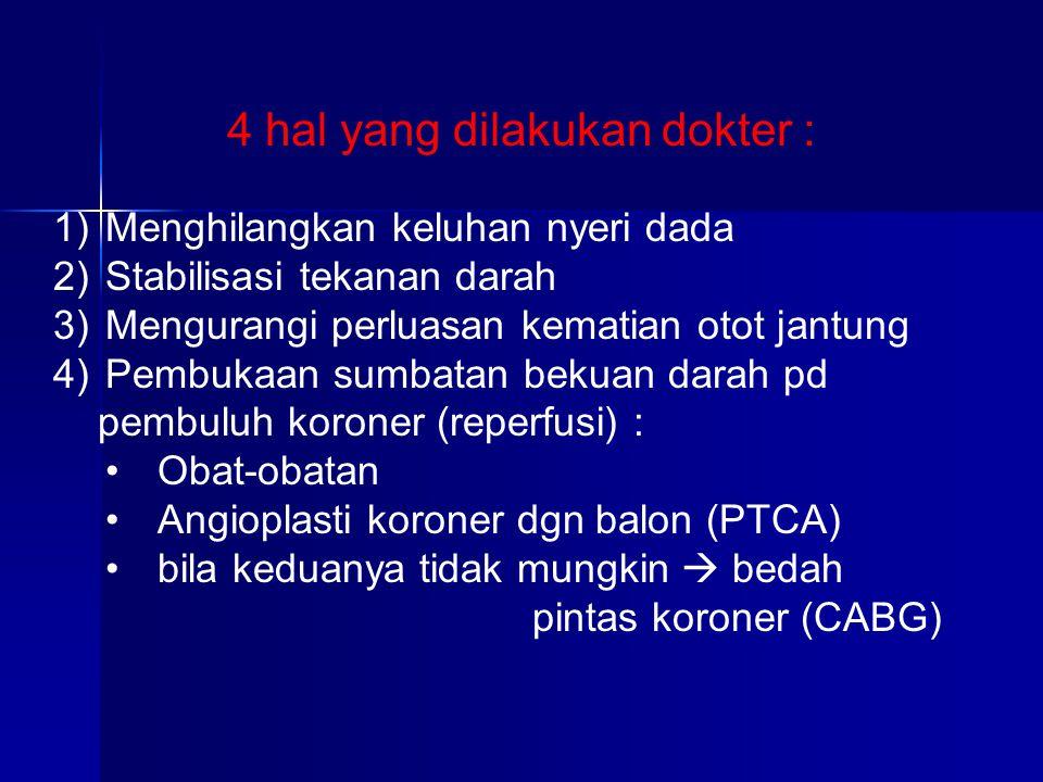 1)Menghilangkan keluhan nyeri dada 2)Stabilisasi tekanan darah 3)Mengurangi perluasan kematian otot jantung 4)Pembukaan sumbatan bekuan darah pd pembu