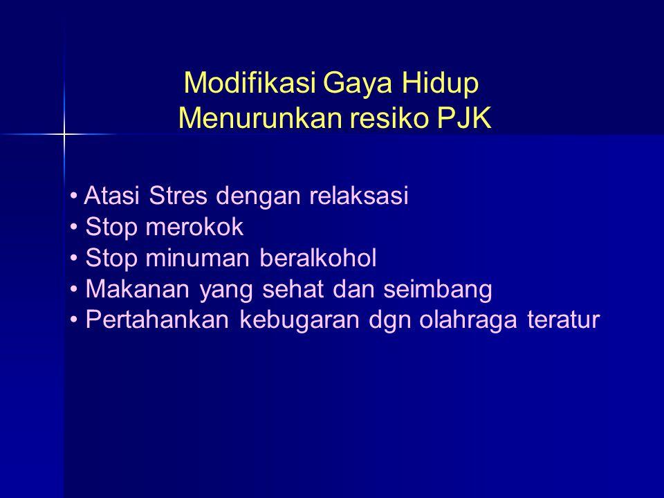 Modifikasi Gaya Hidup Menurunkan resiko PJK Atasi Stres dengan relaksasi Stop merokok Stop minuman beralkohol Makanan yang sehat dan seimbang Pertahan