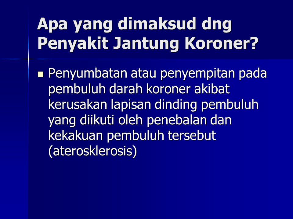 Apa yang dimaksud dng Penyakit Jantung Koroner? Penyumbatan atau penyempitan pada pembuluh darah koroner akibat kerusakan lapisan dinding pembuluh yan