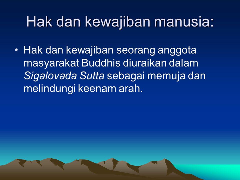 Hak dan kewajiban manusia: Hak dan kewajiban seorang anggota masyarakat Buddhis diuraikan dalam Sigalovada Sutta sebagai memuja dan melindungi keenam
