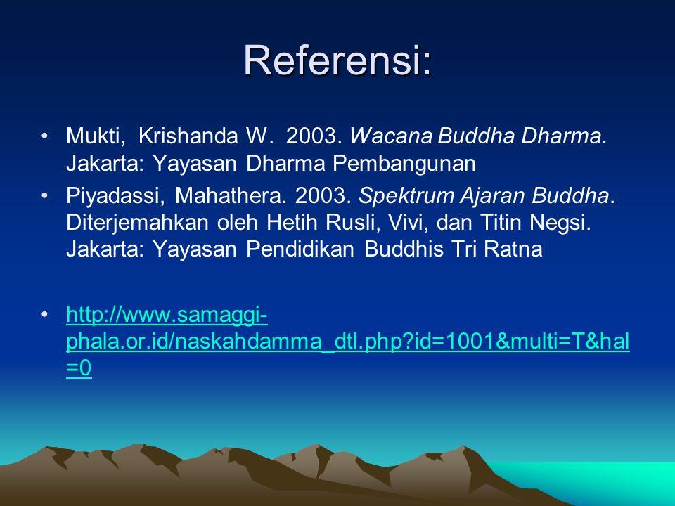 Referensi: Mukti, Krishanda W. 2003. Wacana Buddha Dharma. Jakarta: Yayasan Dharma Pembangunan Piyadassi, Mahathera. 2003. Spektrum Ajaran Buddha. Dit
