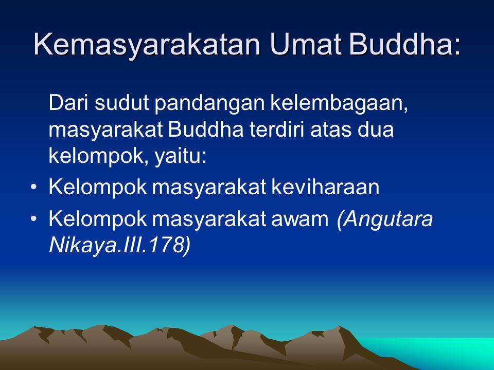 Kemasyarakatan Umat Buddha: Dari sudut pandangan kelembagaan, masyarakat Buddha terdiri atas dua kelompok, yaitu: Kelompok masyarakat keviharaan Kelompok masyarakat awam (Angutara Nikaya.III.178)