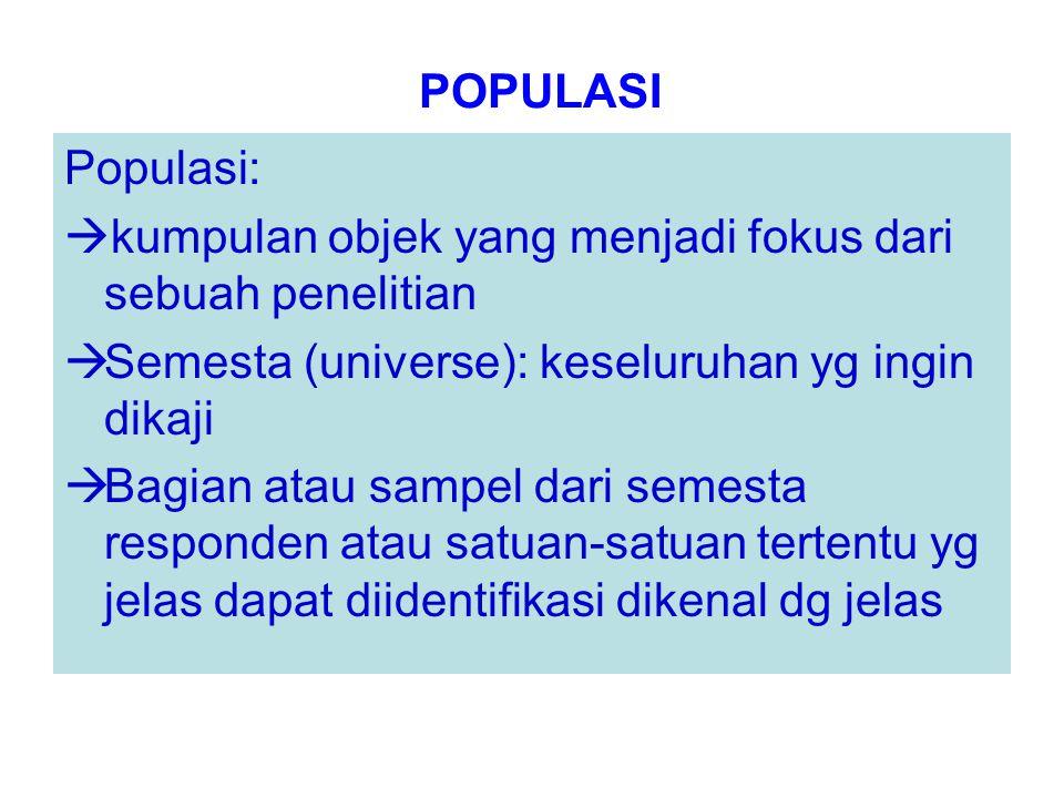 POPULASI Populasi:  kumpulan objek yang menjadi fokus dari sebuah penelitian  Semesta (universe): keseluruhan yg ingin dikaji  Bagian atau sampel d