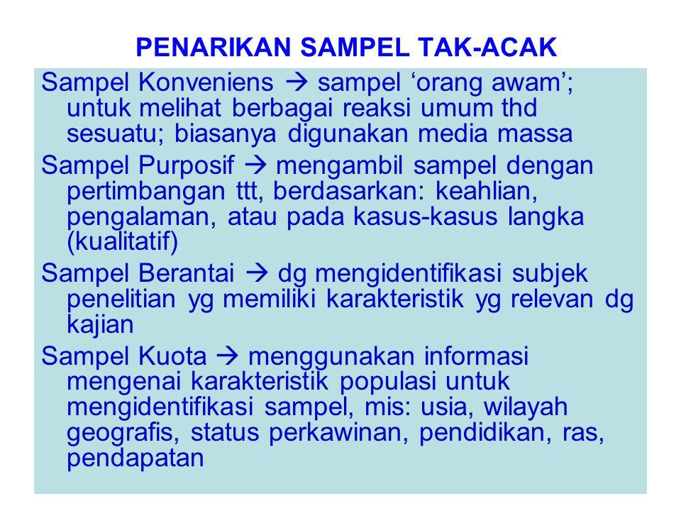 PENARIKAN SAMPEL TAK-ACAK Sampel Konveniens  sampel 'orang awam'; untuk melihat berbagai reaksi umum thd sesuatu; biasanya digunakan media massa Samp