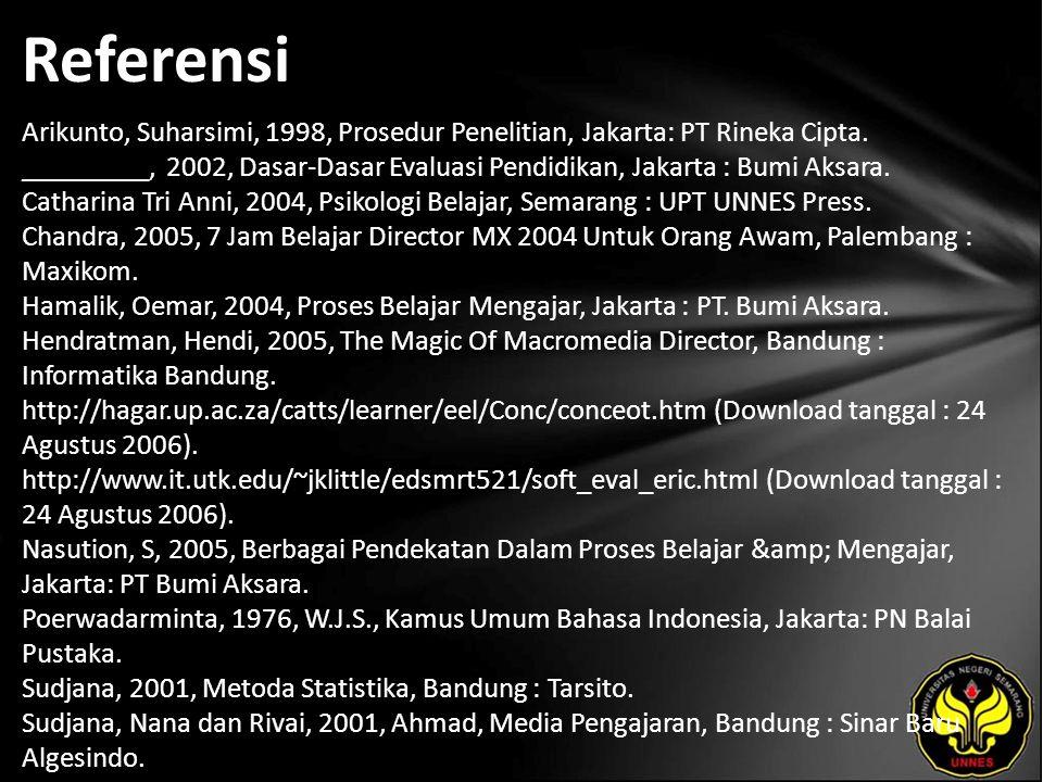 Referensi Arikunto, Suharsimi, 1998, Prosedur Penelitian, Jakarta: PT Rineka Cipta.
