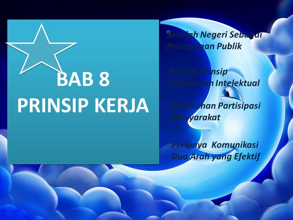 BAB 8 PRINSIP KERJA Sekolah Negeri Sebagai Perusahaan Publik Prinsip-Prinsip Kebebasan Intelektual Kebutuhan Partisipasi Masyarakat Perlunya Komunikas