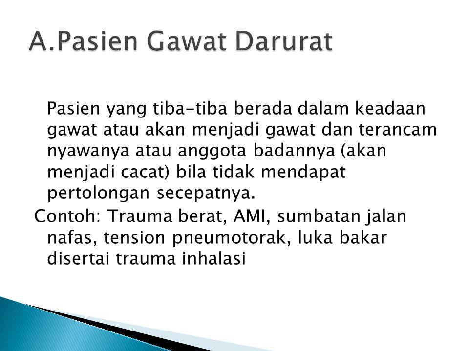 Pasien yang tiba-tiba berada dalam keadaan gawat atau akan menjadi gawat dan terancam nyawanya atau anggota badannya (akan menjadi cacat) bila tidak m