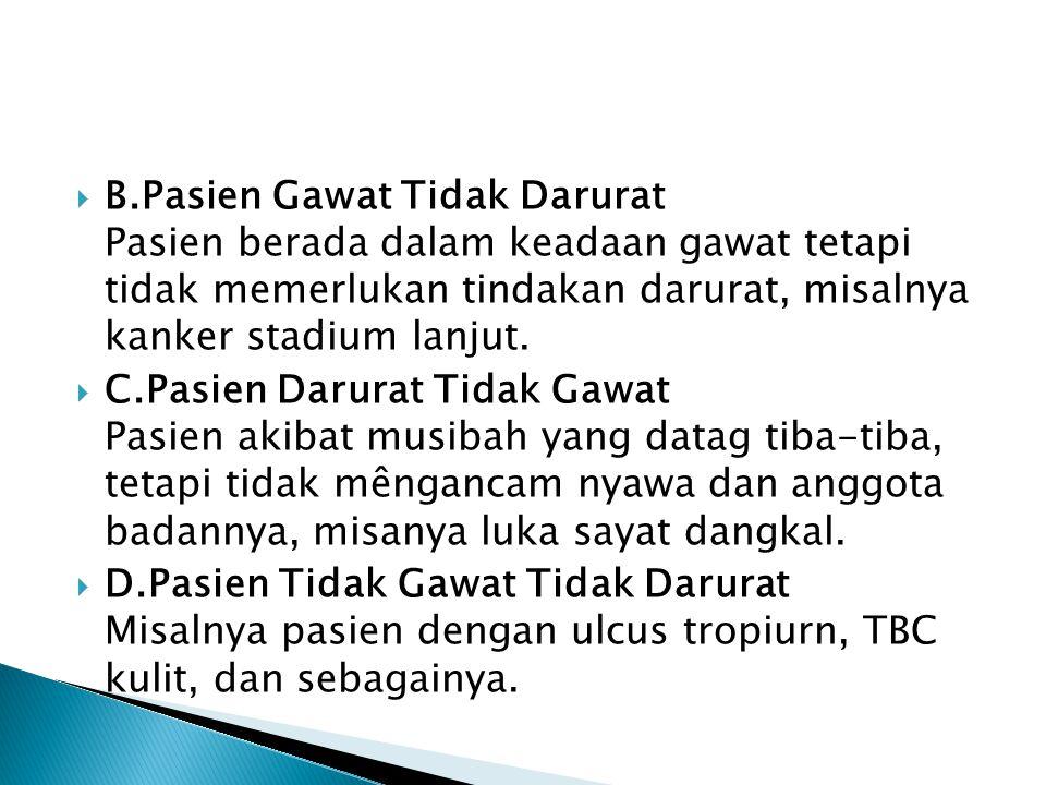  B.Pasien Gawat Tidak Darurat Pasien berada dalam keadaan gawat tetapi tidak memerlukan tindakan darurat, misalnya kanker stadium lanjut.  C.Pasien