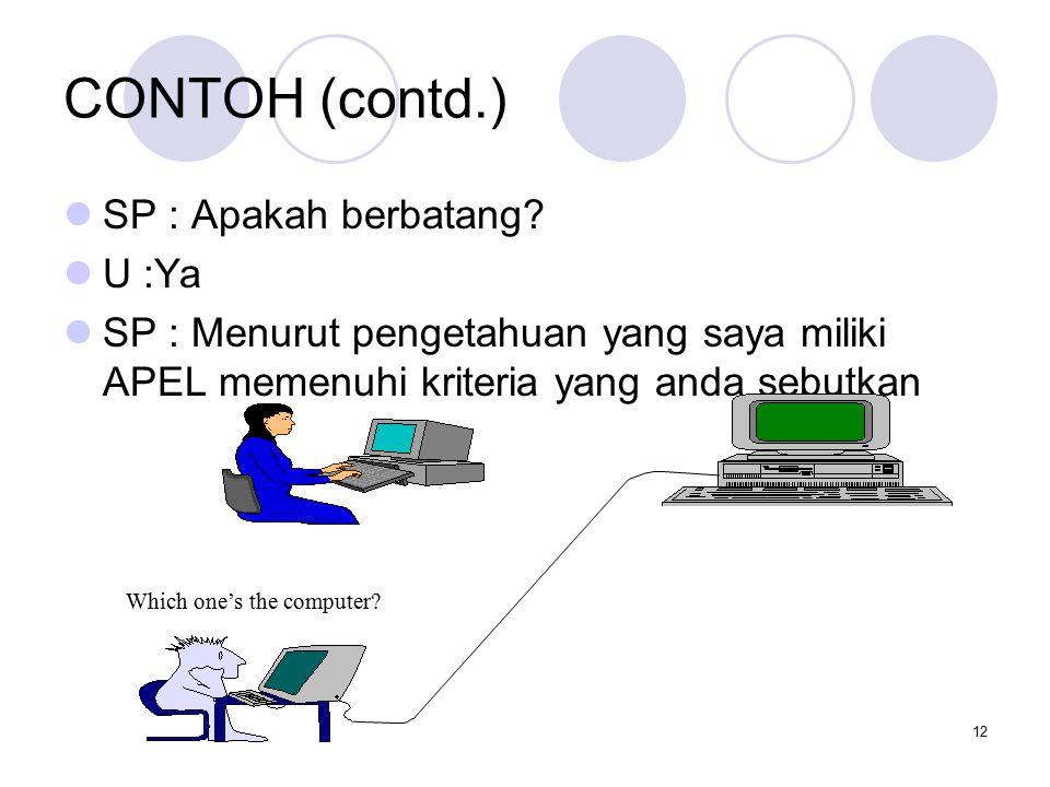 12 CONTOH (contd.) SP : Apakah berbatang? U :Ya SP : Menurut pengetahuan yang saya miliki APEL memenuhi kriteria yang anda sebutkan Which one's the co