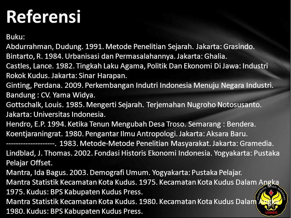 Referensi Buku: Abdurrahman, Dudung. 1991. Metode Penelitian Sejarah. Jakarta: Grasindo. Bintarto, R. 1984. Urbanisasi dan Permasalahannya. Jakarta: G