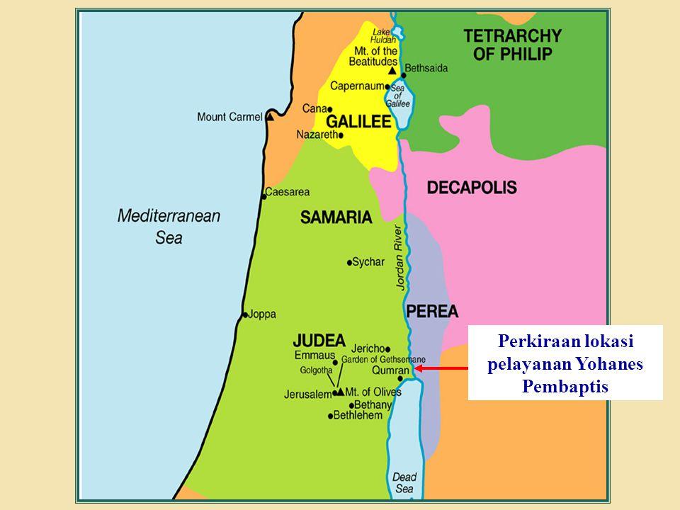 Judea Galilee ChildhoodPereaJerusalem Perkiraan lokasi pelayanan Yohanes Pembaptis