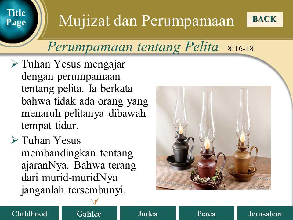 Judea Galilee ChildhoodPereaJerusalem  Tuhan Yesus mengajar dengan perumpamaan tentang pelita.