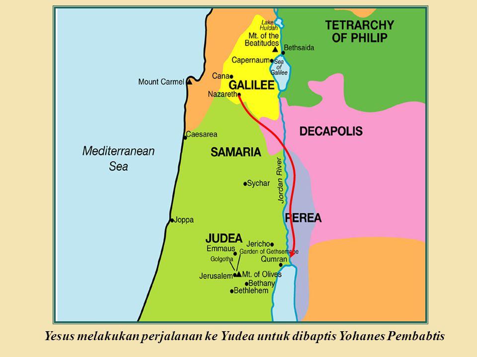Judea Galilee ChildhoodPereaJerusalem BACK Yesus dibaptis 3:18-22 Permulaan Pelayanan Yesus Roh Kudus turun keatas Yesus dalam rupa burung merpati Title Page