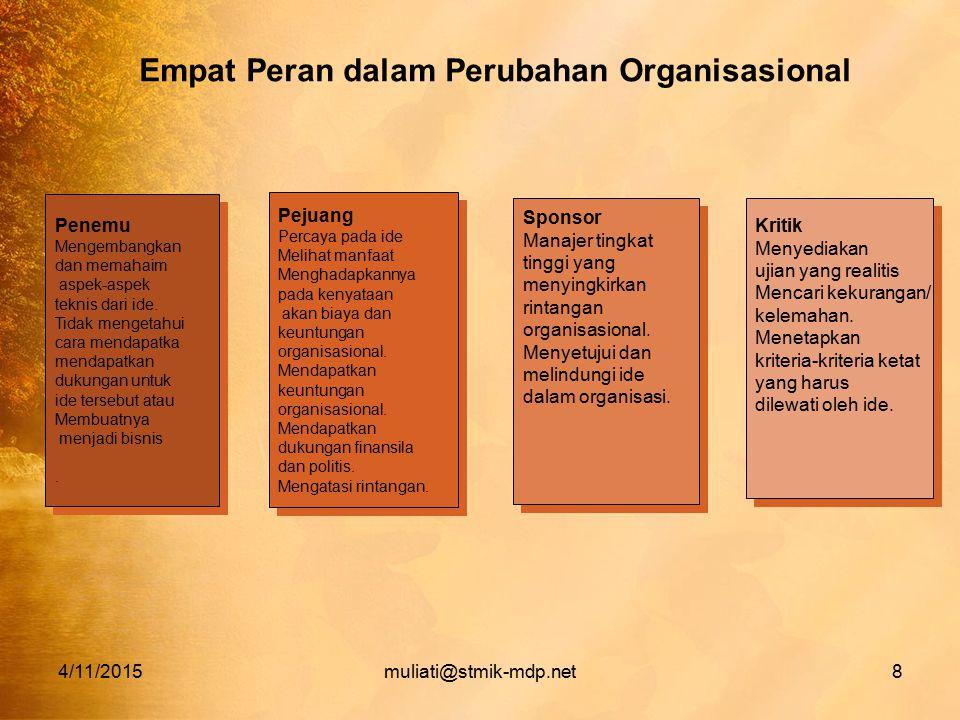 4/11/2015muliati@stmik-mdp.net8 Empat Peran dalam Perubahan Organisasional Penemu Mengembangkan dan memahaim aspek-aspek teknis dari ide. Tidak menget