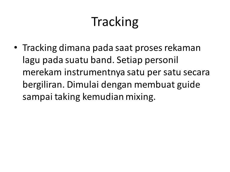 Tracking Tracking dimana pada saat proses rekaman lagu pada suatu band.