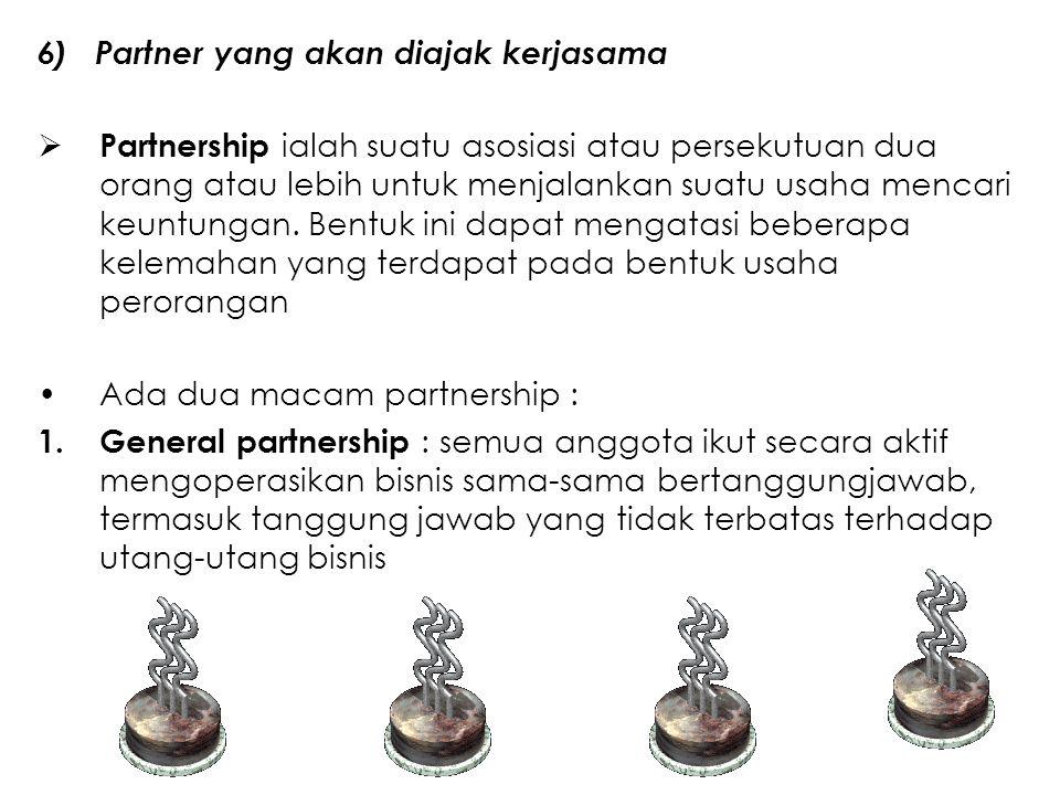 6) Partner yang akan diajak kerjasama  Partnership ialah suatu asosiasi atau persekutuan dua orang atau lebih untuk menjalankan suatu usaha mencari k