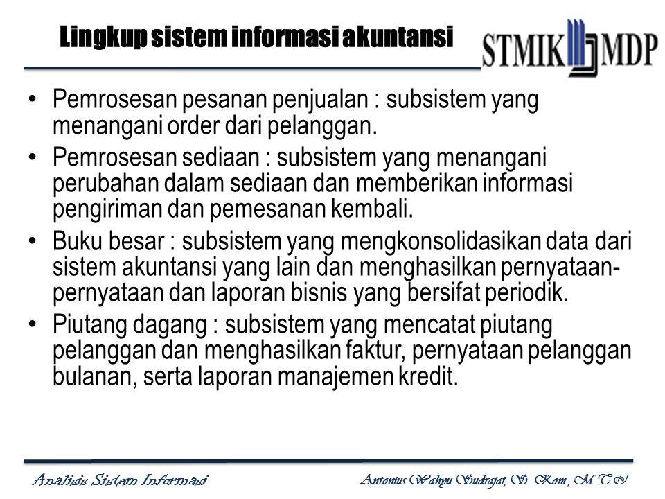 Analisis Sistem Informasi Antonius Wahyu Sudrajat, S. Kom., M.T.I Pemrosesan pesanan penjualan : subsistem yang menangani order dari pelanggan. Pemros
