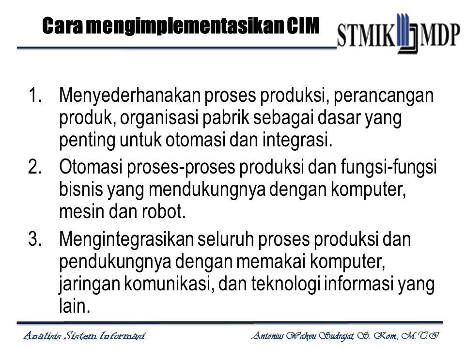 Analisis Sistem Informasi Antonius Wahyu Sudrajat, S. Kom., M.T.I Cara mengimplementasikan CIM 1.Menyederhanakan proses produksi, perancangan produk,