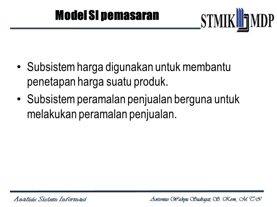 Analisis Sistem Informasi Antonius Wahyu Sudrajat, S. Kom., M.T.I Subsistem harga digunakan untuk membantu penetapan harga suatu produk. Subsistem per