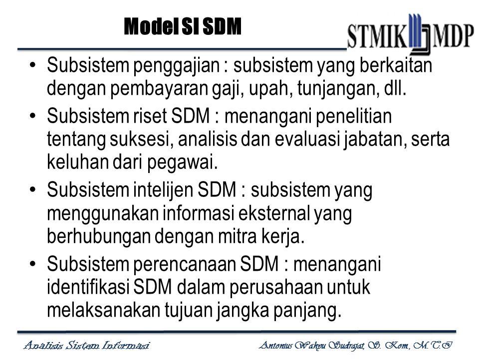 Analisis Sistem Informasi Antonius Wahyu Sudrajat, S. Kom., M.T.I Subsistem penggajian : subsistem yang berkaitan dengan pembayaran gaji, upah, tunjan