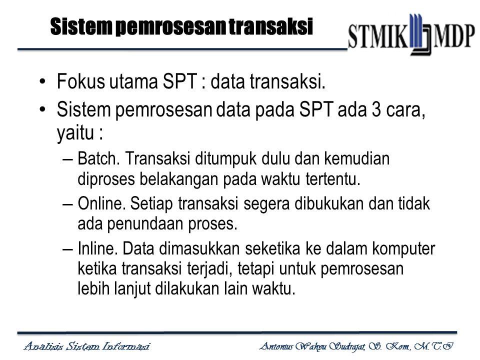 Analisis Sistem Informasi Antonius Wahyu Sudrajat, S. Kom., M.T.I Sistem pemrosesan transaksi Fokus utama SPT : data transaksi. Sistem pemrosesan data