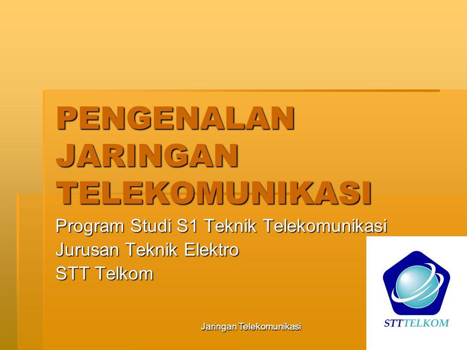 Jaringan Telekomunikasi2 Arti telekomunikasi: Tele= jauh Komunikasi= hubungan untuk pertukaran informasi/data Telekomunikasi: pertukaran informasi jarak jauh antara dua terminal dengan memanfaatkan alat bantu elektrik.