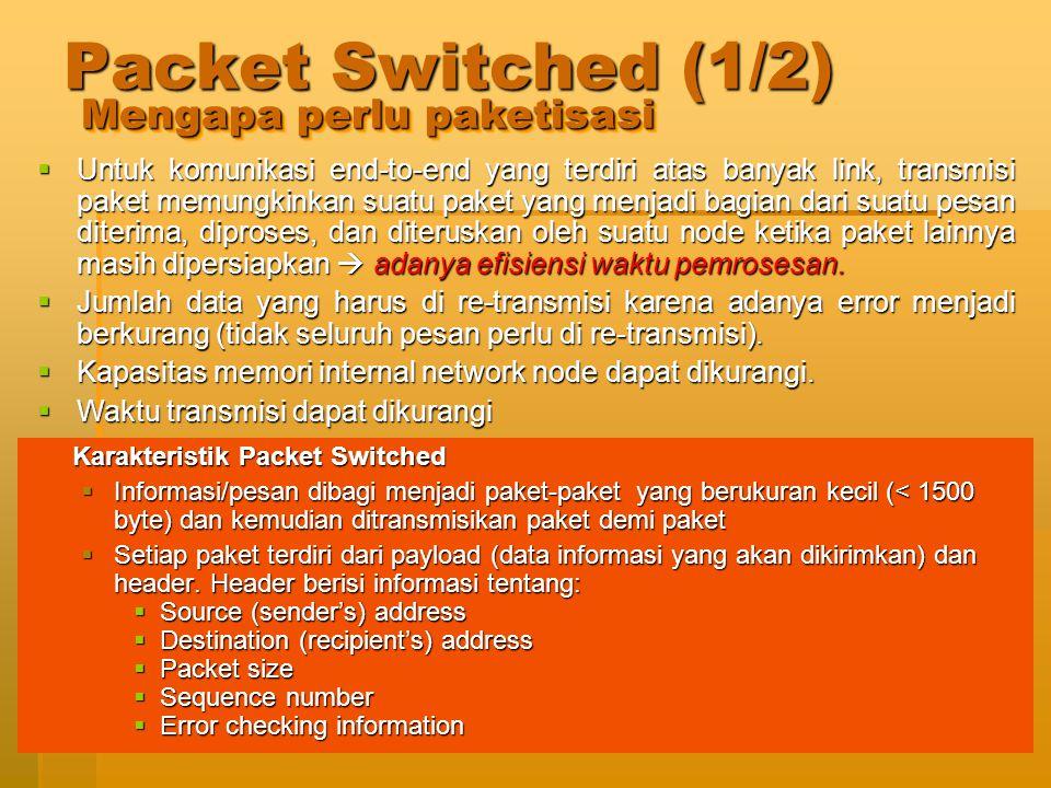 Jaringan Telekomunikasi36 Packet Switched (2/2)  Masing-masing paket akan dikirimkan ke jaringan secara independen (tidak tergantung pada rute paket sebelum atau sesudahnya).