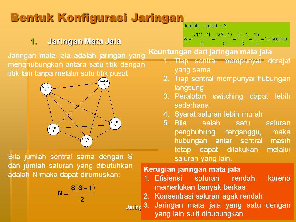 Jaringan Telekomunikasi62 Sifat-sifat jaringan Bintang 1.Cocok untuk jaringan dengan volume trafik yang rendah 2.Trafik ke sentral lain (antar sentral) dari suatu sentral dikonsentrasikan melalui sentral transit, sehingga sentral transit biasanya mempunyai derajat yang lebih tinggi.