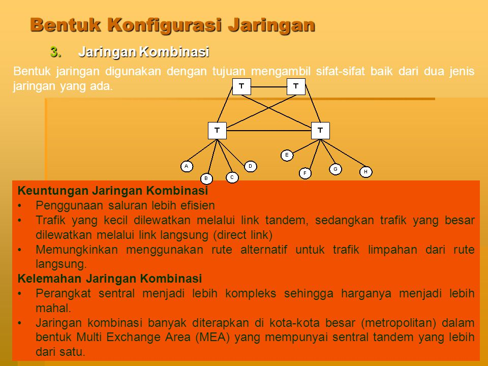 Jaringan Telekomunikasi64 Bentuk Konfigurasi Jaringan 4.Jaringan Cincin 1.Dalam topologi cincin, setiap titik dihubungkan langsung hanya pada dua titik yang tetangga yang berdekatan.