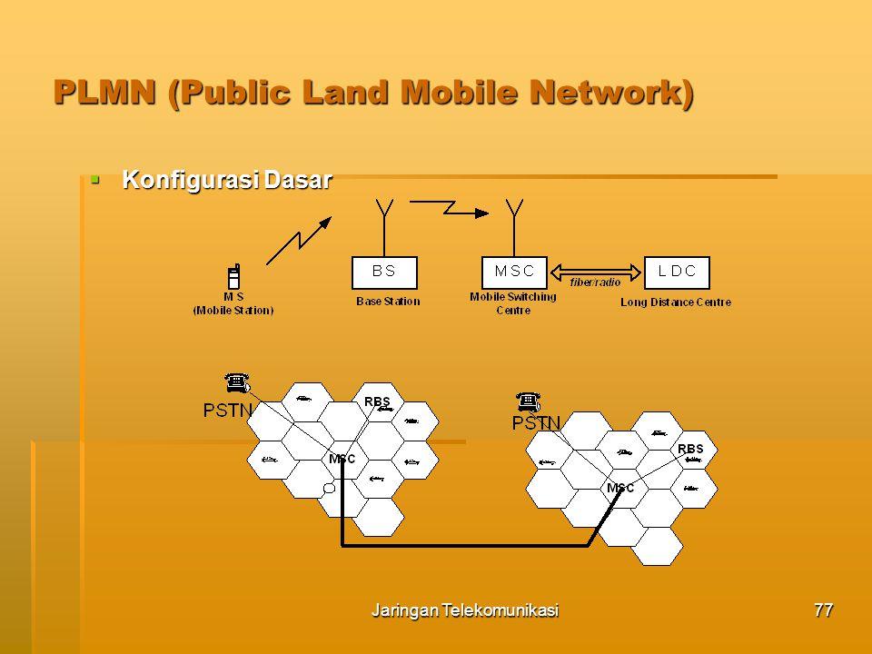 Jaringan Telekomunikasi78 PLMN (Public Land Mobile Network)  GSM GSM/GPRS network Serving GPRS Support Node (SGSN) Gateway GPRS Support Node (GGSN)