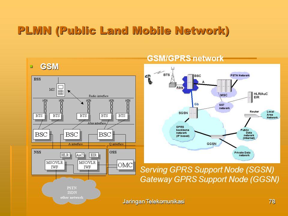 Jaringan Telekomunikasi79 PLMN (Public Land Mobile Network)  EDGE (Enhanced Data rate for GSM Evolution) EDGE implementation RNC = Radio Network Controller UMTS = Universal Mobile Telecommunications System UTRAN = UMTS Terrestrial Radio Access Network