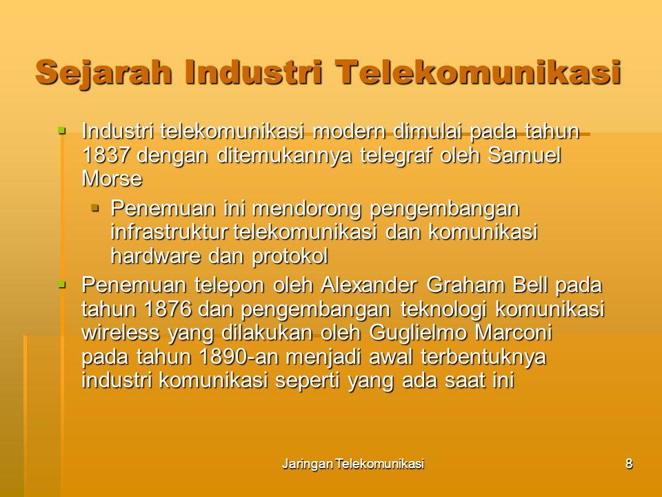 Jaringan Telekomunikasi9 Sejarah Industri Telekomunikasi (1950-an)  Sebelum tahun 1950-an, perusahaan telepon dan telegraf telah mengembangkan fasilitas komunikasi jaringan dalam dunia industri  Di Amerika Serikat, industri ini diatur oleh FCC (Federal Communication Commission) dan state-level public service commissions (PSCs) yang mengendalikan tarif dan layanan  Lembaga regulasi (FCC dan PSC) memberikan hak eksklusif kepada perusahaan telepon untuk menghubungkan perangkat komunikasi ke jaringan  Perusahaan telepon dipandang sebagai perusahaan monopoli