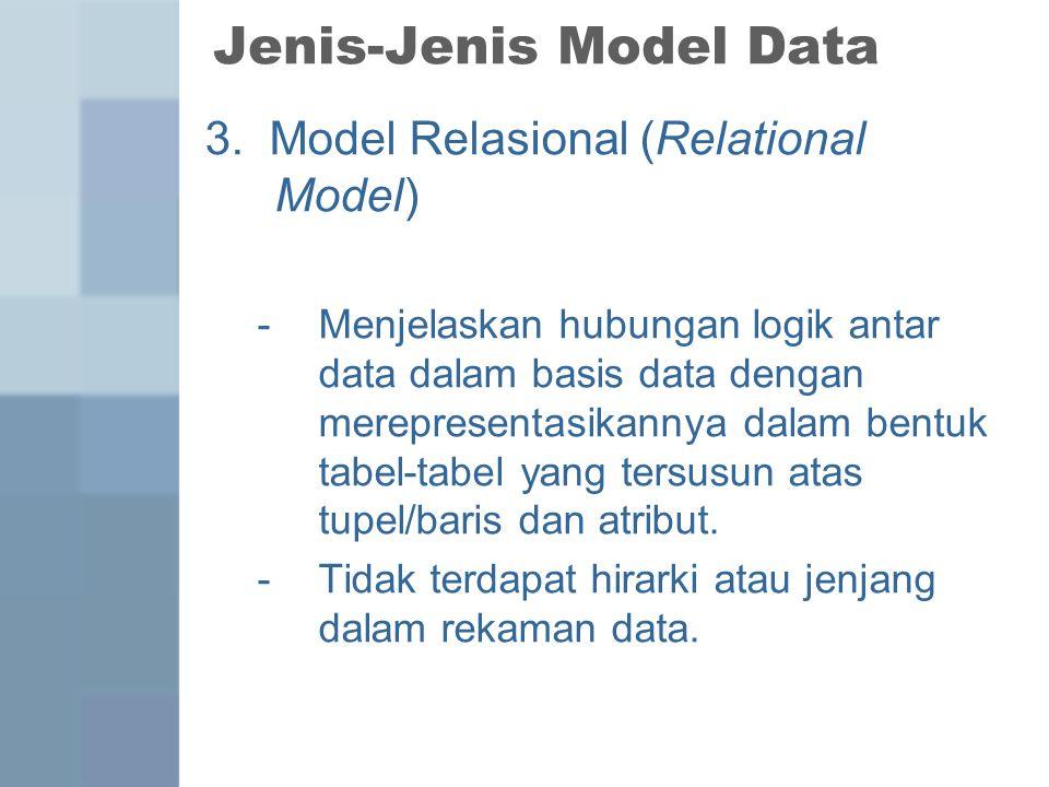 Jenis-Jenis Model Data 3. Model Relasional (Relational Model) -Menjelaskan hubungan logik antar data dalam basis data dengan merepresentasikannya dala