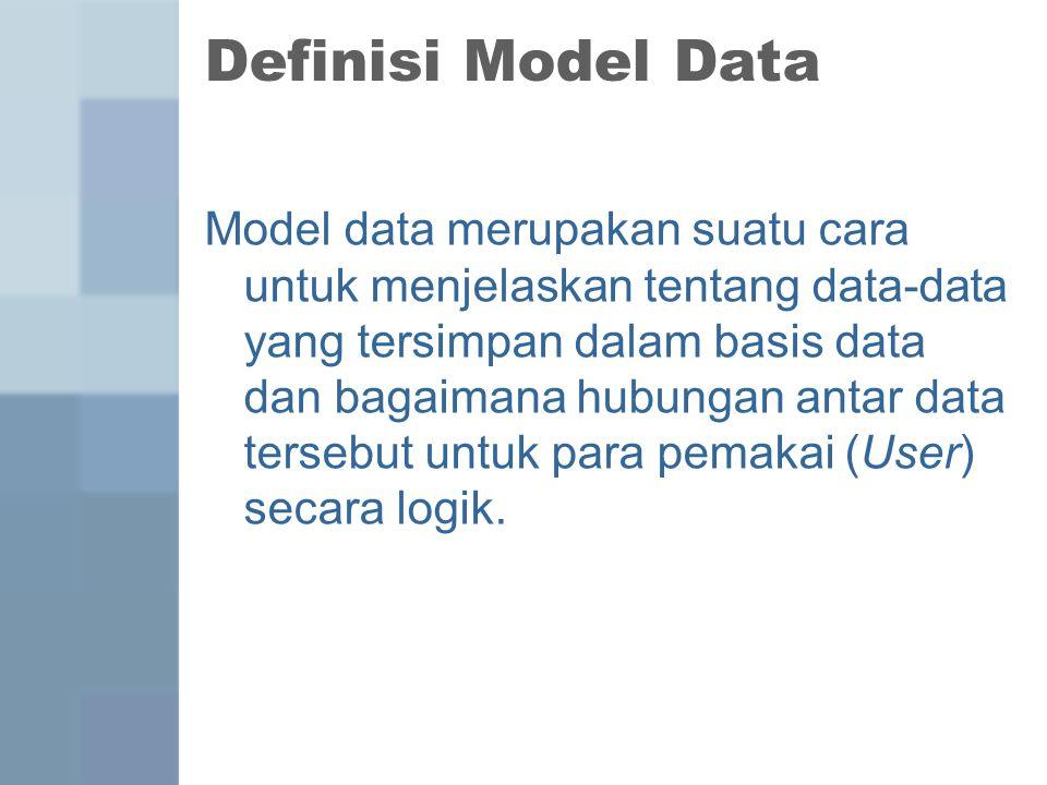 Definisi Model Data Model data merupakan suatu cara untuk menjelaskan tentang data-data yang tersimpan dalam basis data dan bagaimana hubungan antar d